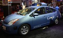 Nov 1,2012. Las Vegas NV. Google shows their first self-driving car during the third day of the 2012 SEMA auto show in Las Vegas.Photo by Gene Blevins/LA Daily News/ZumaPress (Credit Image: © Gene Blevins/ZUMAPRESS.com)